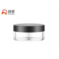 China Single Wall Clear Flat Round Unguent Jar 100g Cosmetic Container on sale