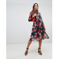 Quality OEM your own hot sale girls high neck floral midi dress for sale