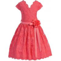 China Coral V Neck Cap Sleeves Little Girls Holiday Dresses , Kids Birthday Frocks Rose Lace Flower Belt wholesale
