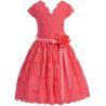 China Coral V Neck Cap Sleeves Little Girls Holiday Dresses , Kids Birthday Frocks Rose Lace Flower Belt wholesale
