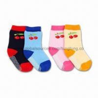 China 100% Cotton Cherry Kids Socks with Terry, Customized Designs, Colors and Sizes are Welcome wholesale