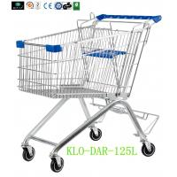 China 125L Toddler Metal Supermarket Cart With Beer Rack / 4 Swivel 4 Inch PU Wheel wholesale
