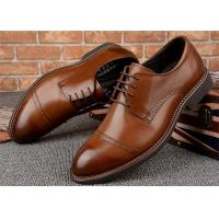 Quarter Brogues Cap Toe Mens Formal Dress Shoes , Mens Lace Up Dress Shoes