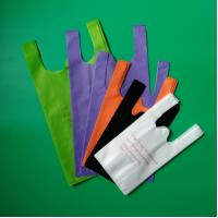 China Non woven vest shopping bag in green color,  32+14x60cm,100% virgin, eco-friendly wholesale