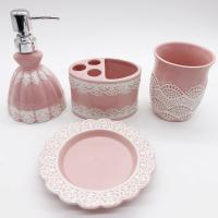 China Pink Lace Dress Ceramic Bathroom Set / Soap Lotion Dispenser Set Dish Brush Holder wholesale