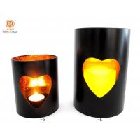 China Small / large Stick Gold Foil inside pillar candle holder with heart hollow out wholesale