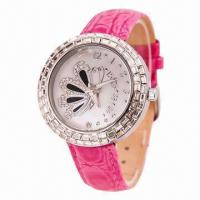China Jewelry Watch with Elegant Design, CZ Stones Decoared in the Case Bezel, Genuine Leather Strap wholesale