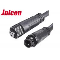 China Black Wire Waterproof Male Female Connector 10A / 300V 3 Pin Metal Screw Type wholesale