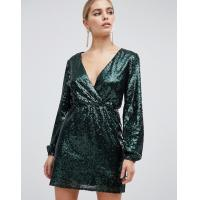 China OEM sequin wrap front long sleeve green skater dress wholesale
