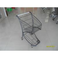China 40L Steel Tube Airport Grocery Push Cart , Grocery Shopping Trolley With Advertisement Board wholesale