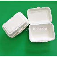 Buy cheap Disposable Biodegradable Sugarcane Pulp Paper Lunch Box, sugarcane clamshell from wholesalers