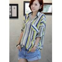 China Loose Cotton Casual Stripes Short Sleeves Tops,Wholesale Womens Clothes on sale
