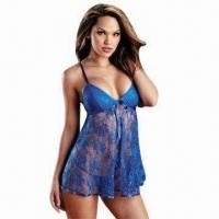 China Women's blue lace nightwear, made of lace, low minimum order quantity, more styles are available wholesale