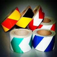 China Blue And White Reflective Safety Tape , Striped Chevron Reflective Barrier Tape on sale