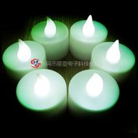 China HIPS green color flameless LED flickering candle , battery operated tealight candles on sale
