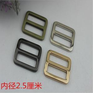 China Custom zinc alloy 25 mm nickel color metal adjustable strap slide buckle for backpack wholesale