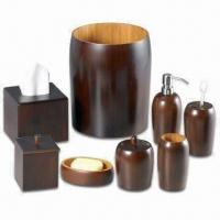Bullet Stained Bamboo Bathroom Set, Includes Toothbrush Holder, Liquid Soap Dispenser and More