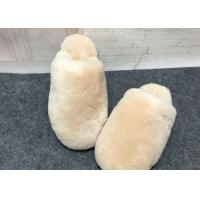 China Indoor Fluffy Sheep Wool Slippers Handmade With Rubber Sole / Real Lambskin Fur wholesale