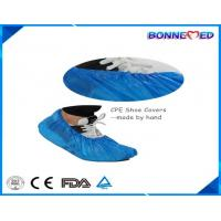 China BM-7024 Good Qulaity Hospital Use Disposable SPP Non-woven CPE Material Blue Color Shoe Cover with Anti-skid Printing on sale