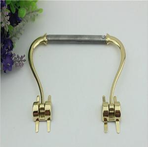 China 2018 Latest models design light gold 100 mm length leather metal handle for clutch bag wholesale