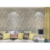 China Eco - Friendly Silver Vinyl Removable Wallpaper With Floral And Leaf  Pattern , 0.53*10M wholesale