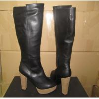 China Italy hot sales girl's sexy style black leather zipper knee length heels Platform booties wholesale