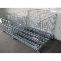 China 4 Sided Grocery Store Wire Mesh storage warehouse Container with four casters wholesale