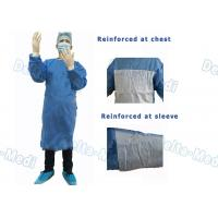 China Ultrasonic Bonding Disposable Examination Gowns , Impervious SMMS Disposable Gowns Chest Fabric Reinforced wholesale