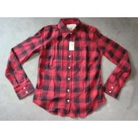 China 20K pcs Abercrombie & Fitch plaid pattern girl's shirt inventory ,women's Fall's slim-fit casual Tops wholesale