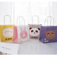 China Lovely Cartoon Printed Recycled Paper Shopping Bags Eco Friendly Light Weight on sale