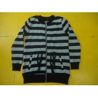 China Funky Drawstring Girls Zip Up Jacket , Grey And White Striped Top For Kids wholesale