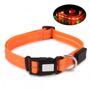 China Adjustable Waterproof LED Dog Collar 17.7 - 24.8 Inch PVC / POM Plastic Buckles wholesale