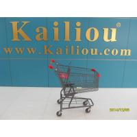 China American Style Metal Supermarket 4 wheel shopping trolley with grey powder coating wholesale