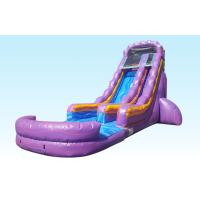 China Teenager 22ft Purple Paradise Inflatable Water Slides With Pool For Backyard Party wholesale