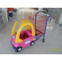 China Red And Yellow Childrens Shopping Trolley  With Rear Basket And 4 Swivel Flat Caster wholesale