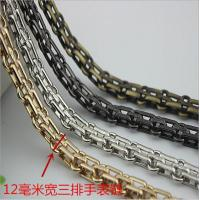 China Fashionable classical high quality light gold 12 mm width three rows metal chain for handbags wholesale