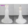 China Sleeveless Crepe Wedding Dress Vestido De Noiva Lace Appliques Sheath Design wholesale