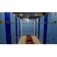 China Triple Tier Lockers With E - Lock , Blue Plastic Employee Lockers For Hotel on sale