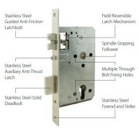 China ANSI Grade 1 Door Mortise Lock Body With 72mm Centers 60mm Backset OEM / ODM on sale