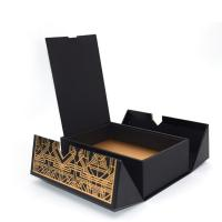 China Folded Magnetic Closure Black Wine Bottle Gift Box / Wine Display Box Packaging For Liquor wholesale