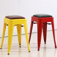 China YLX-1113 Loft Simple Style Steel Tolix Mini Square Stool chair with Cushion wholesale