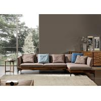 China Walnut Ash Wood Modern Leather And Fabric Sofa Solid Structure For Home / Lobby wholesale