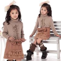 China Bow Lace Blocked Woolen Girls Winter Skirts , Comfy Elastic Waist A Line Skirt wholesale