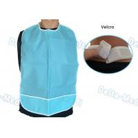 China CPE Waterproof Disposable Dental Bibs with Velcro Blue Color 45 X 48cm wholesale