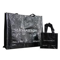 Durable PP Woven Shopping Bags Reusable water proof recycle  Black color