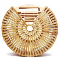 China Factory wholesale fashion beach bamboo handbags, 20cm round hand bamboo bag, shoulder bamboo bags on sale