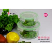 China heat-resistant pyrex glass green round storage food container set wholesale