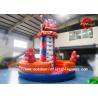 China Backyard Children Fire Truck Cartoon Inflatable Rock Climbing Wall For Rental wholesale