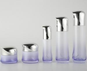 Luxury Glass Cosmetic Bottles With Plated Lids / Cream Jar Lotion Bottles Cosmetic Packaging