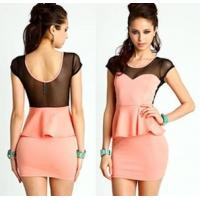 China Fashionable Cap Sleeve Casual Womens Dresses Pink Washable wholesale